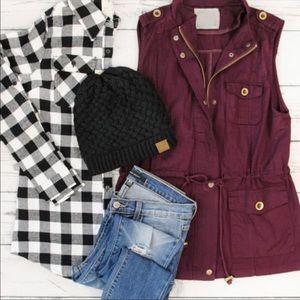 Utility vest drawstring jacket boutique